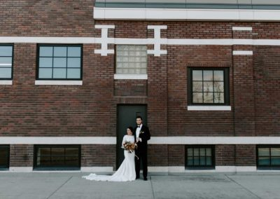 Bride and Groom Brick Wall Outdoor